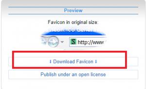 favicon.ccで作成したファビコンをダウンロードする