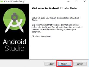 AndroidStudioのインストーラーを起動する
