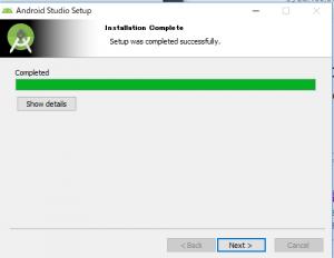AndroidStudioのインストールが完了