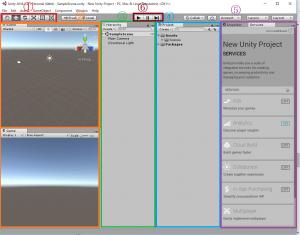 Unityでプロジェクト作成後の画面