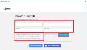 Unityアカウントの作成2