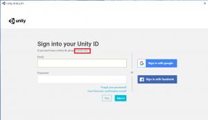 Unityアカウントを作成する