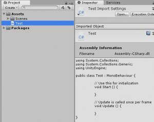 Unityのプロジェクトウィンドウからスクリプトを開く