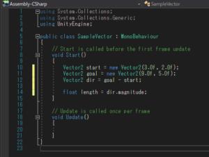 Vector2クラス同士の減算からベクトルを求めるスクリプト